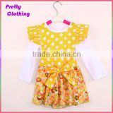 Fashionable 2 Piece Suits Polka Dot Cap Shirt Printed Children Cotton Branded Kids Dress Clothing