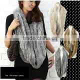 Y.ROGUSA Brand YR012 Top Quality Genuine Hand Knitted Rabbit Fur Scarf Neckwear Women