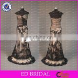 CE767 Elegant Fashion Appliqued Black Lace Floor Length Sexy Evening Gowns