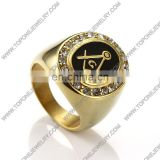 Custom gold plated stainless steel masonic signet mearingful rings