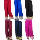 Multi Color Free Size Women's Stylish Embroidered Cotton (Rayon) Palazzo Pants