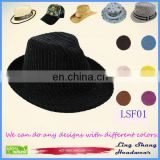 LSF01 Ningbo Lingshang black design Wholesales High quality Fedora Hat Suppliers