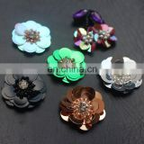 2017 New Look 3D Handmade Colorful Sequin Flower with Pearl and Rhinestone