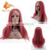Virgin Red Brazilian Human Hair Wig Middle Part Silky Stragiht Full Lace /Lace Front Wig In Stock