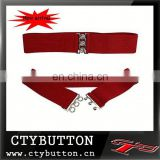 Red simple design with three holes buckle elastic belts for kids