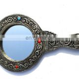 Rawat Handicrafts Vintage Style Indian Handmade White Metal Ladies Mirror