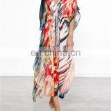 2019 Bohemian Printed Tiger-Striped Tunic Beach Dress Fashion Summer Women Beachwear Sarongs Plus Size Chiffon Pool Party Dress