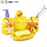 Plastic Bathroom tools yellow duck shape Soap holder bath sponge bath lotion bottle