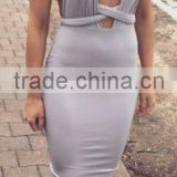 Summer dress high quality 2015 summer new fashion Women sey nude gray deep v neck evening Party Dress Bandage Bodycon Women Wear