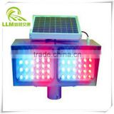 Factory outlet double sides double sets red and blue LED flashing solar powered traffic signal warning light