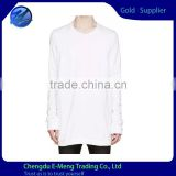 Long Sleeve High Quality Sexy Skiny Fit Men Long Shirt Pure White