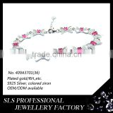Lovely BOW-TIE 925 silver jewelry big ruby gemstone jewellery bracelet for girls