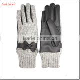 fashion women and gril Elegant gloves back grey and blue woolen and palm grey sheepskin leather gloves with bow