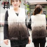 Factory direct wholesale price dip-dye rabbit knit fur vest/knit fur sleeveless vest
