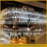 Brilliant Oval Shape Ice Flow Art Top Class Hand Blown Glass Pendent Chandelier