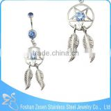 BR01772 cheap price women beautiful crystal hanging dream catcher belly ring