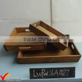 Set 3 Vintage Farm Style Rectangle Solid Wood Tray Serving                                                                         Quality Choice