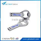 Bottle Opener Stainless Steel USB Flash Drive Key Shape with Logo and Lanyard