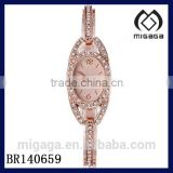 fashion ladies alloy quartz watch with pink gold plating*pink gold coating cz stone chain beautiful ladies watch