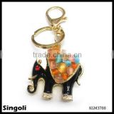 elephant key chain with black enamel and color beads
