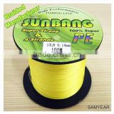 Sunbang Factory Wholesale Super Strong Braided Fishing Line Yellow 10lb 100m