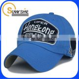 Applique embroidery Blue Cotton Baseball Cap side embroidery logo baseball hat