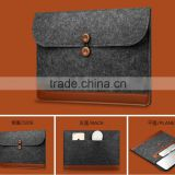 Polyester wholesale eco-friendly washable and button design felt material file pocket file bag Hand made felts double layer File