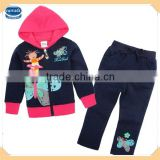 FG4655# navy 18M/6Y long sleeve zipper children's clothes fleece hoodie set girls printed outfits baby branded clothes