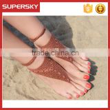 V-985 Yoga dance exclusive crochet anklet foot chain jewelry wholesale dance leg chain ankle bracelet indian foot jewelry