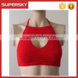 K-51 High neck crochet bikini with tie sides swimwear women sexy bikini top women knti beach bustier