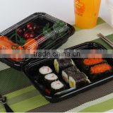 sell rectangle black PS sushi take out container disposable plastic food container with lid