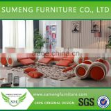 2015 Hot selling Orange and white 1+2+3 recliner massage sofa,lazy boy leather recliner sofa                                                                         Quality Choice