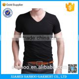 High Quality Plain Black Mens Cotton Spandex V-neck T shirt Gym Fitness Short Sleeve Sexy Tshirt