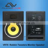 8-Inch Powered Bookshelf Speakers 2.0 ribbon tweeter Active Studio Monitor Speaker with Wooden Enclosure 75 Watts RMS