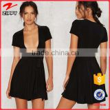 OEM Custom Low V Short Sleeves Little Black Sexy Dresses for Women                                                                         Quality Choice