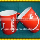 red glazing/ square shape/ nescafe smile face print/ ceramic cup