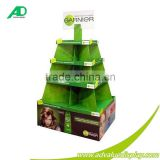 Christmas Tree Design Rotating Cardboard Display Stand Round Display Shelves For Cosmetic
