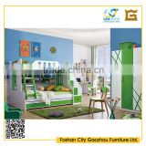 2016 latest children wood bedroom furniture sets with bunk bed in fresh young style green and white color