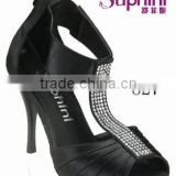 Suphini Black Satin Handmade Tango Latin Dance Shoes