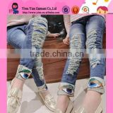2015 Korea New Style Sequins Eyes Jeans High Stretch Pants Wholesale Boutique Fashion Highly Quality Children Denim