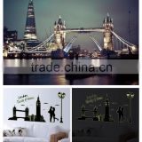 1 set 27*63 Inch Removable PVC Fluorescent Wall Sticker London Tower Bridge and Big Ben Poster For Bedroom Decoration ABQ9603