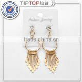 Brand gold silver plated black earrings for women long drop earrings alloy ear jewelry exaggerated tassel metal Earrings