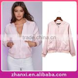 Wholesale women sport casual coat girls pink color bomber jacket baseball jersey
