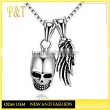Jingli Jewelry High quality fashion stainless steel jewelry silver plated men skull and wing pendant chain in stock
