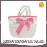 Women Pastoral Style White&Pink Fair Maiden Bow Woven Staw Bag Dating Picnic Handbag