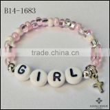 Good Promotion Girls Beads Pink Pearl and Silver Bracelet Personalized Name Bracelet Cross Charm Bracelet Jewelry