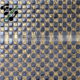 SMP11 Black electroplate mixed gold drop mosaic Hotel decorative back splash Luxury mosaic wall