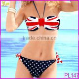 2014 Top Fashion Sexy Women UK Flag Star Padded Push Up Bandeau Bikini Swimwear Swimsuit