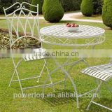 Elegant Antique White Wrought Iron Bistro Set Garden Furniture PL08-8668/8669
