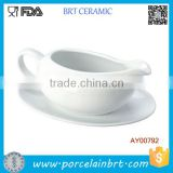 White Ceramic Gravy Boat with Saucer